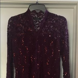 Marina Sequined Merlot Dress Size 14